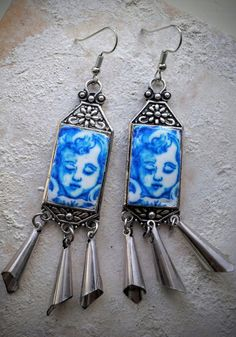 Portugal  Antique Azulejo Tile Replica Earrings from by Atrio