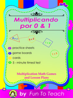 Multiplicando Por 0/1 - Spanish Multiplication Math Games and Lesson Plans FREEBIE...Individual Spanish multiplication packages focus on MULTIPLICATION, one factor at a time. Teaching elementary students to multiply in Spanish is quick and effective when students practice their multiplication facts with these fun and engaging reproducible Spanish multiplication games, lesson plans and Math activities.  FREE