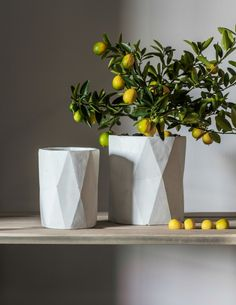 White Geo Concrete Vase - in Small or Large