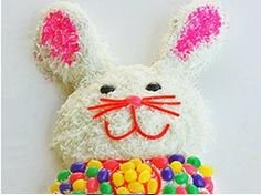 finished bunny cake decorated with licorice and jelly beans