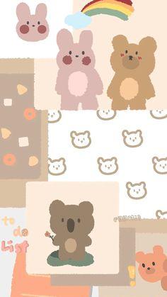 Cute Pastel Wallpaper, Soft Wallpaper, Bear Wallpaper, Cute Patterns Wallpaper, Kawaii Wallpaper, Cute Wallpaper Backgrounds, Wallpaper Iphone Cute, Cute Cartoon Wallpapers, Pretty Wallpapers