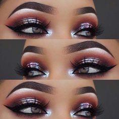Metallic Smokey Eye Makeup Look # Make-up-Tipps … … - Make-up Anleitung Red Dress Makeup, Prom Eye Makeup, Smokey Eye Makeup Look, Prom Makeup Looks, Natural Eye Makeup, Blue Eye Makeup, Eye Makeup Tips, Cute Makeup, Eyeshadow Looks