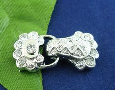 5 Sets Silver 2holes fold over clasp clear Rhinestone Magnetic Clasps 14x30mm