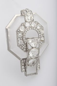 Pat Saling - Rock Crystal And Diamond Brooch by Belperron
