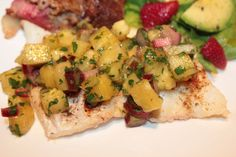 roasted cod served with a pineapple rhubarb salsa......sweet & tart......easy, skinny & delicious!