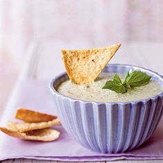 Basil Parmesan Dip with Pita Chips | MyRecipes.com