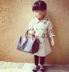 4bb7e2613a22 Toddler trench coat and louis vuitton bag haha! i can see my little girl  Elise