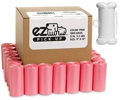 1000 cat Waste Disposal Poop Bags with Dispenser Pick Up Bags Pink * Trust me, this is great! Click the image. : Cat litter