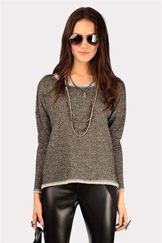 Stud Button Sweatshirt - Grey
