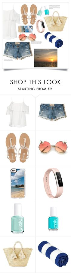 """Walk on the Beach"" by livvydubs ❤ liked on Polyvore featuring BB Dakota, Hollister Co., Head Over Heels by Dune, Casetify, Fitbit, Essie and Giselle"