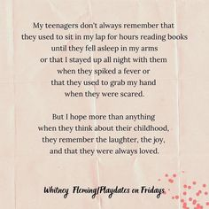 """Whitney Fleming on Instagram: """"They don't remember those things, but when they think about their childhood, I hope they have the same warm, fuzzy feeling that I do. ❤️"""" Always Remember, Raising Kids, Kids And Parenting, How To Fall Asleep, Books To Read, Funny Quotes, Childhood, Warm, Feelings"""