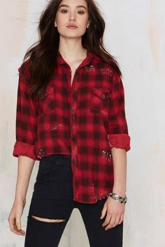 After Party Vintage Put a Pin In It Flannel Shirt