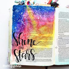 Love this galaxy inspired Bible journal Bible Drawing, Bible Doodling, Faith Bible, My Bible, Scripture Art, Bible Art, Beautiful Words, Bible Study Journal, Art Journaling