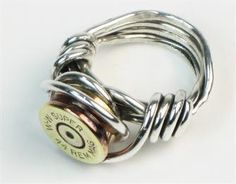 Bullet Shell Ring Sterling Silver -have a bullet ring but i might just have to make this one too Bullet Shell Jewelry, Bullet Casing Jewelry, Bullet Ring, Wire Jewelry, Jewelry Rings, Ammo Jewelry, Jewlery, Gold Jewelry, Wire Rings