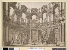 Design for a stage set: an atrium with a staircase leading to an arcaded gallery Pen and brown ink and grey wash