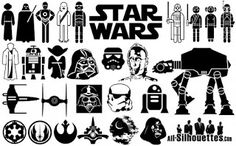 Star Wars vector characters layered cutting file in Svg, Eps, Ai and jpeg format for Cricut and Silhouette by bulgraphics on Etsy Star Wars Silhouette, Silhouette Vector, Silhouette Design, Silhouette Images, Canvas Silhouette, Star Wars Birthday, Star Wars Party, 7th Birthday, Chanel Logo