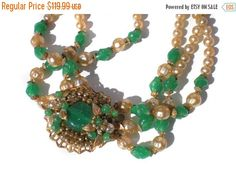 """Green Art Glass Necklace Cream & Silver Faux Pearls and Rhinestones on Filigree Leaf Setting Multi Strand 13"""" Choker Collar Vintage"""