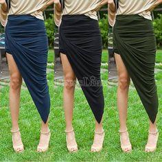 Fashion Women Wrap Banded Waist Draped Asymmetrical Cut Out High Low Skirt Hotsale