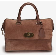 Mulberry Milk Chocolate Heavy Suede Del Rey Satchel ($1,500) ❤ liked on Polyvore