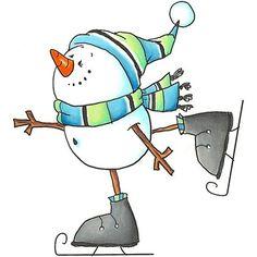 Snowman on skates Watercolor Christmas Cards, Christmas Drawing, Christmas Paintings, Watercolor Cards, Christmas Doodles, Christmas Clipart, Christmas Pictures, Christmas Rock, Christmas Snowman