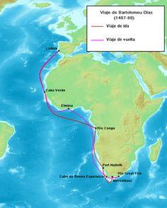 In 1487 wordt Bartolomeus Diaz door de Portugese koning op uitgezonden om de westelijke kust verder in kaart te brengen. Ook moet hij het rijk van priesterkoning Johannes vinden en zoeken naar een zeeweg naar Indië. Februari 1488 bereikt hij het zuid-westelijkste punt van Afrika. Als eerste Europeaan ontdekte hij Kaap de Goede Hoop. Over zijn afkomst en jeugd is vrijwel niets bekend