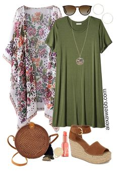 Plus Size Beach Vacation Outfits with a t-shirt dress, boho kimono, straw rattan crossbody, and platform espadrilles. Alexa Webb Plus size beach vacation outfits with a boho kimono. Swimwear plus some casual outfits with denim shorts and a t-shirt dress. Kimono Outfit, Boho Kimono, Outfit Jeans, Floral Kimono, Plus Size Beach Dresses, Outfits Plus Size, Plus Size Holiday Outfits Summer, Plus Size Summer Fashion, Plus Size Clothing