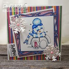 Free breast cancer awareness snowman digital stamp by McMahon Five Design.  Card by Sue