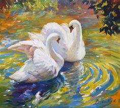 Original Art Oil Painting, measuring: 100W x 90H x 2D cm, by: Artem Brazhnik (Ukraine). Styles: Realism, Expressionism, Fine Art, Impressionism. Subject: Animal. Keywords: Lake, Water, Summer, Animal, Swan, Bird, Impressionism, Birds, Landscape, Animalistic, Love, Swans. This Oil Painting is one of a kind and once sold will no longer be available to purchase. Buy art at Saatchi Art. Swan Painting, Love Painting, Oil Painting On Canvas, Canvas Art, Painting Abstract, Acrylic Paintings, Canvas Size, Original Paintings, Original Art