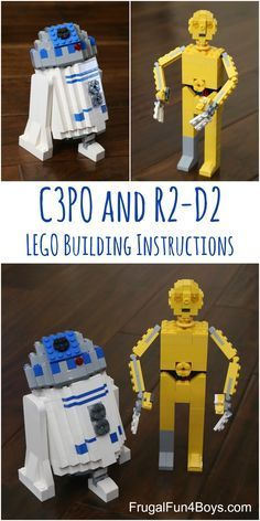 LEGO Building Instructions for R2-D2 and C3PO!  How to build these characters with pieces you already have.  Great LEGO club challenge!