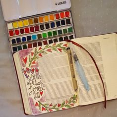 Love one another. John 15:12. A great message this morning at FBC Goldthwaite.  My sweet husband knows me so well he got me a new watercolor half pan set for Valentine's day. I love what bible journaling has done for my relationship with Christ and to have a husband who is so supportive of my walk makes me feel so loved.  @thebeardedberg  #illustratedfaith #biblejournaling #biblejournal #idrawinmybible #biblejournalingcommunity #watercolor by 64.8studio