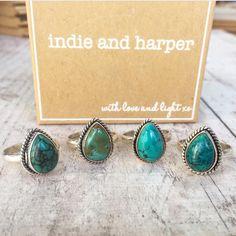 Turquoise Tear Drop Rings ♥️ www.indieandharper.com