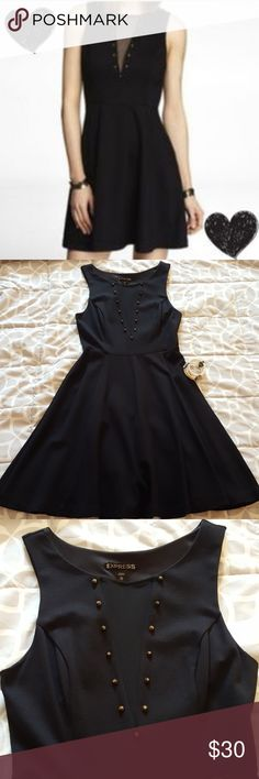 Express LBD A gently used pre-loved Express little black dress with beautiful studs and mesh neckline. Very flattering and sophisticated. In size XS Express Dresses Mini