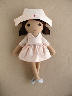 Reserved for Jo Fabric Doll Rag Doll Brown Haired by rovingovine