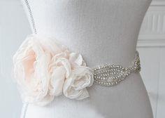 SHOWN: hand beaded silk rhinestone sash with hand made rose chiffon everywhere clip