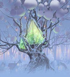 Ipad Pro Apple, Winter Illustration, House Illustration, Kawaii Drawings, Cute Drawings, Adobe Photoshop, Tree House Drawing, Fantasy Concept Art, Cartoon Background