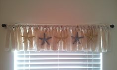 my beachy no sew valance Decor, Kitchen Window, Coastal Windows, Kitchen Window Treatments, Coastal Window Treatments Beach Styles, Home Decor, Beachy Curtains, Curtains, Coastal Style