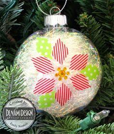 Washi Tape Christmas / Xmas / Navidad Pretty poinsettia ornament - Washi Tape Crafts