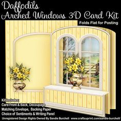 Daffodils Arched Windows 3D Card Kit