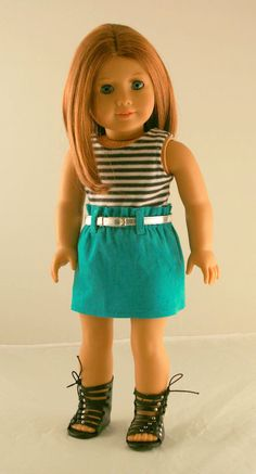 American Girl Doll Clothes - Paper Bag Skirt, Stripe Tank, and Silver Belt