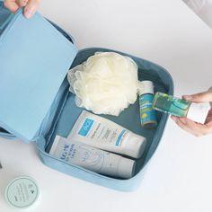 21X16X5cm South Korea cosmetic bag lady trumpet portable hand bag Travel cosmetic Home Storage bulk waterproof Wash Purple Bins