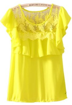 Yellow Short Sleeve Lace Ruffles Chiffon Blouse pictures