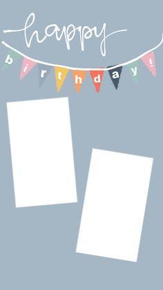 Happy Birthday Template, Happy Birthday Frame, Happy Birthday Posters, Happy Birthday Wallpaper, Birthday Posts, Birthday Frames, Happy Birthday Blue, Birthday Collage, Birthday Captions Instagram