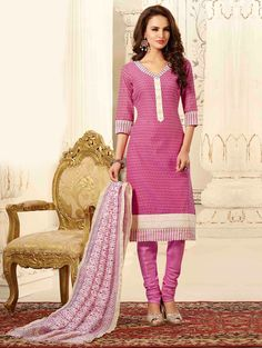 Pink Chanderi Suit with Embroidery Work