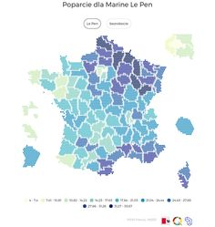 French election 2015. Marine Le Pen's votes in the first round