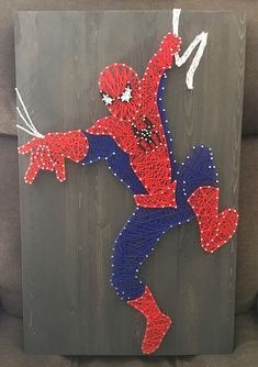 Items similar to Swinging Spider-Man string art on Etsy Diy Craft Projects, Diy And Crafts, Crafts For Kids, Arts And Crafts, String Art Templates, String Art Patterns, Nail String Art, Anchor String Art, Thread Art