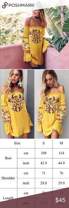 Off Shoulder Boho Embroidered Floral Dress 🌸Brand new beautifully embroidered dress   🌺Features: Off Shoulder, Long Billowy Boho Sleeves  🌷Size: Runs true to size, size chart in photos  ⭐️⭐️⭐️⭐️⭐️Rating ⛔️Trades ✅Bundle 3 items and save 15% (Consider a choker to compete this look?) ✈️Ships same day if ordered by 10:00 PST Dresses Mini