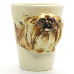 http://www.muddymood.com  Original hand sculpt and hand paint   Pekingese Dog Ceramic Mug Handmade.
