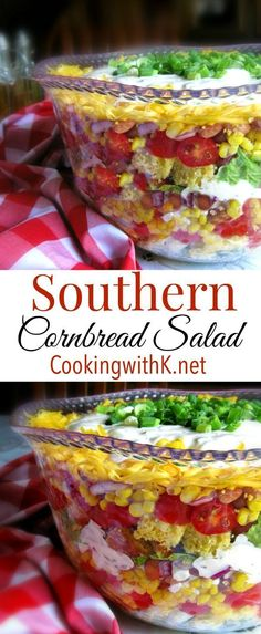 Cooking with K - Southern Kitchen Happenings: Southern Cornbread Salad Southern Cornbread Salad is a fun layered salad full of your favorite vegetables. Serve this incredibly delicious salad at yo… Southern Cornbread Salad, Cornbread Salad Recipes, Southern Salad, Southern Dishes, Southern Kitchens, Southern Recipes, Layered Cornbread Salad, Southern Appetizers, Southern Food
