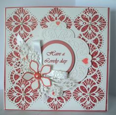 .....by Marjorie Ramsay - Ravello striplet - Maggie - Orange blossom complete & open petals - Lace edged leaves - Iced snow. Sue Wilson, Scrapbook Cards, Scrapbooking, Leaving Cards, Homemade Greeting Cards, Retirement Cards, Square Card, Craft Wedding, Die Cut Cards