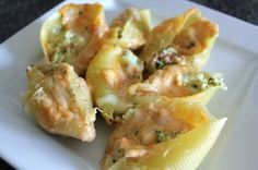 Crab Stuffed Jumbo Shells Baked with a Four Cheese Rosa Sauce